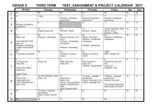 CBHS Grade 9 Tests Projects & Assignments for Term 3 of 2017