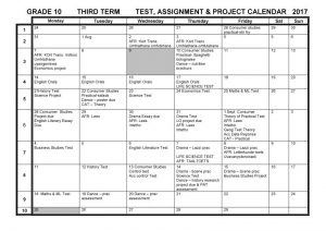 CBHS Grade 10 Tests Projects & Assignments for Term 3 of