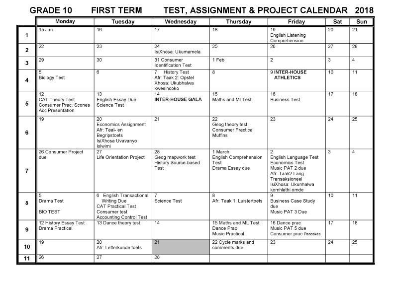 CBHS Grade 10 Tests Projects & Assignments for Term 1 of