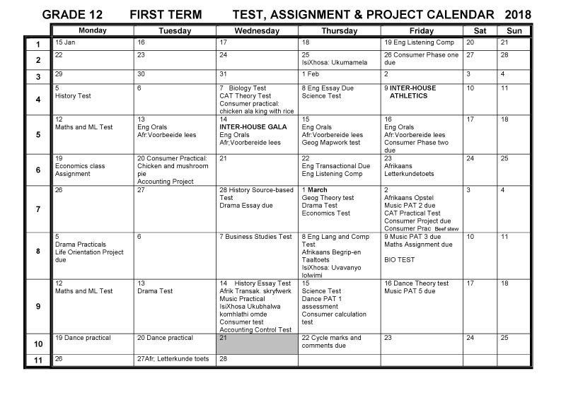 CBHS Grade 12 Tests Projects & Assignments for Term 1 of 2018