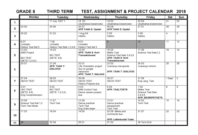 CBHS Grade 08 Tests Projects & Assignments for Term 3 of 2018