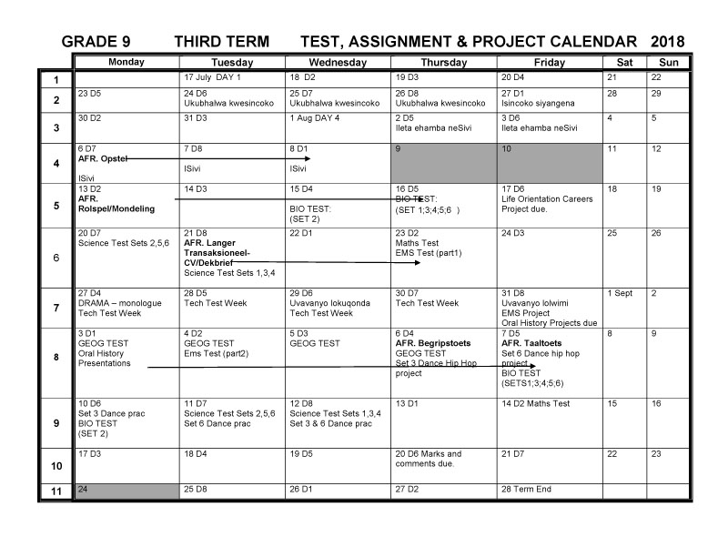CBHS Grade 09 Tests Projects & Assignments for Term 3 of