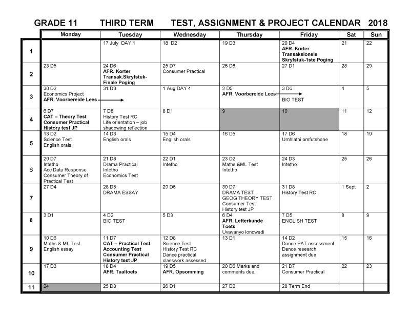 CBHS Grade 11 Tests Projects & Assignments for Term 3 of