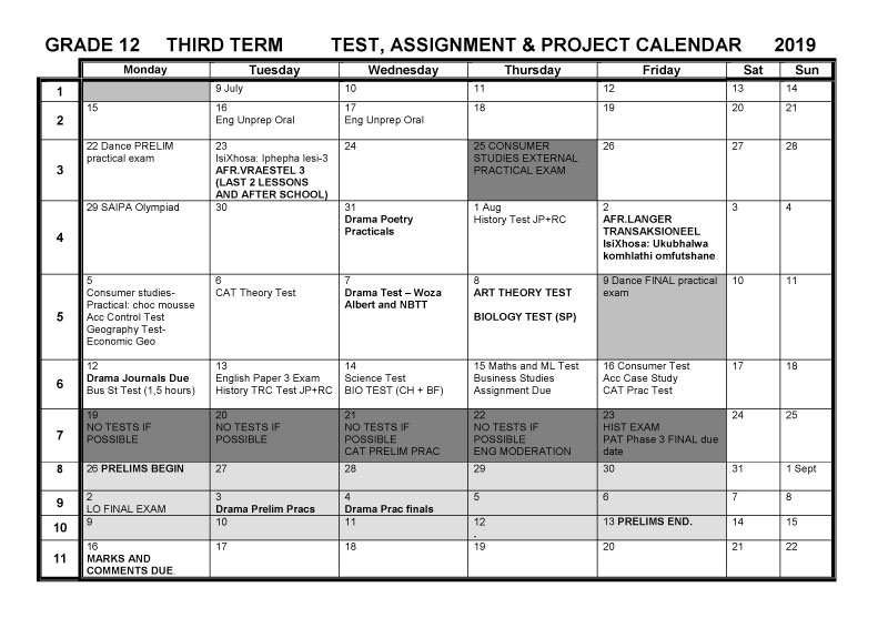CBHS Grade 12 Tests Projects & Assignments for Term 3 of