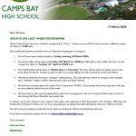 CBHS Update on Last Week Programme 17 Mar '20