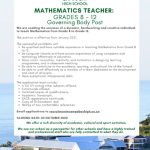 CBHS Job Vacancy: Mathematics – 17 Oct '20
